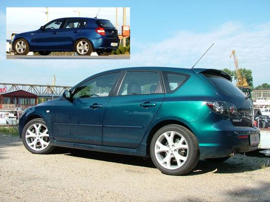 BMW 1-es és a Mazda 3 Sport GTA. A hasonlóság tagadhatatlan