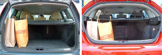 A Volvo nagyra nyíló ötödik ajtaja kombira utal, 417 literes csomagtere  kevés. Az Alfa ötödik ajtaja viszont röhejesen szűk és magasan nyílik