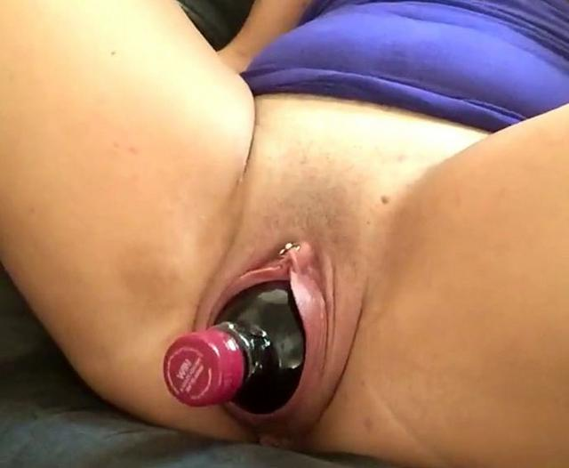 Extreme amateur maria fucked in her greedy brazilian ass with a giant champagne bottle