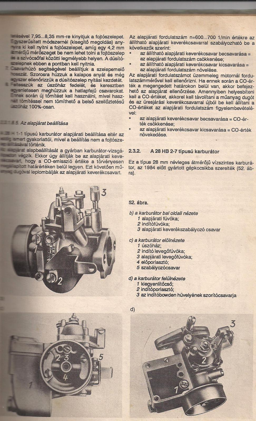 Trabant 1 1 karburátor gyári beállítás