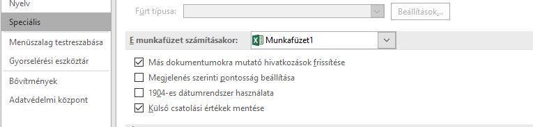 pipa opciók mutatója)