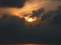 hidroplán a naplementében
